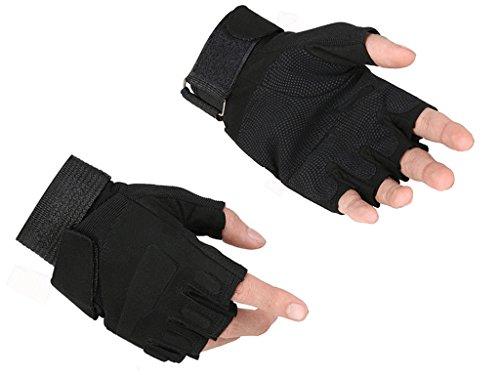Leefrei Herren Taktische fingerlos Handschuhe Fahrradhandschuhe Motorrad Handschuhe Army Gloves Ideal für Airsoft, Militär,Paintball,Airsoft, Jagd (Schwarz, S) (Motorrad Handschuhe Schwarze Fingerlose)