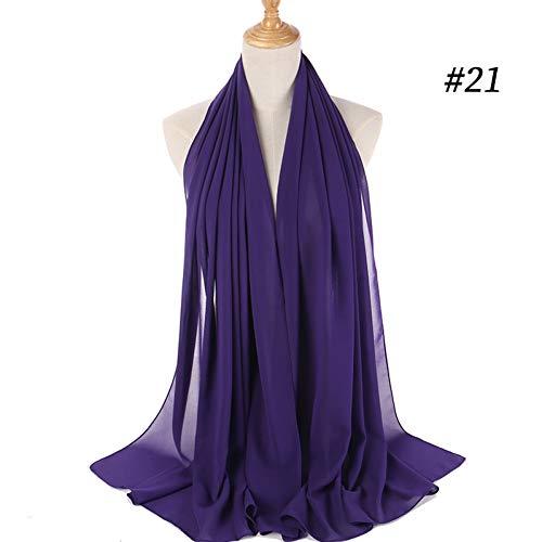 HCJZ Schal Bubble Chiffon Hijab Schal Schal Frauen Einfarbig Lange Tücher Und Wraps Muslim Hijabs Schals Damen,Navy Blue Blue Bubble Kleid