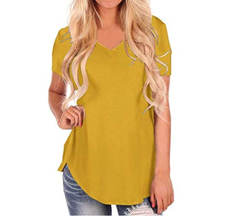 Women V Neck solid Color Tops Plus Size Loose Short Sleeve T-Shirt Women's Streetwear Casual Tshirt Yellow M Diamond Plate Damen Shirt