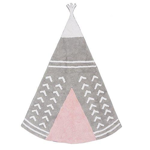 Aratextil. Alfombra Infantil 100% Algodón lavable en lavadora Colección Arizona Gris_rosa 120x160...