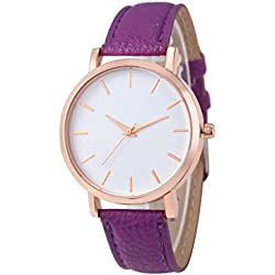 Rawdah 2017 Fashion Watches Leather Stainless Men women Steel Analog Quartz Wrist Watch Purple