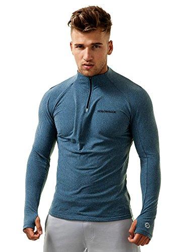 Hollowrock Uomo Zip Pullover I Maglietta Sportivi I Longsleeve I Sweater Blu
