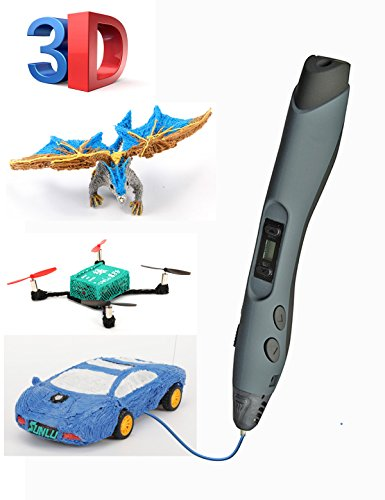 SUNLU Pluma 3D inteligente Actualización de impresión 3D Pluma Diy Regalo Compatible con PLA ABS PCL Con 2 rollos de pantalla LED de filamento (negro)