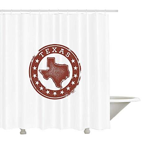 Yeuss Texas Duschvorhang, Klassische Stempel von Western Cowboy Country State Karte Sterne Dallas Houston, Stoff Badezimmer Dekor Set mit Haken, Zimt weiß (Dekor Cowboy Dallas)