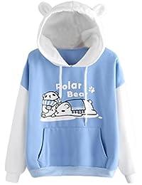 Mujer Sudadera Barato con capucha, Fossen Joven Chica Polar Bear Imprimir Camiseta de manga larga Blusa Tops Mujer Ropa en Oferta