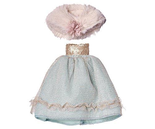 Maileg–Prinzessin Kleid–Mint Tüll Rock und rosa Webpelz Cape–passt Mini Bunny Kaninchen, Katzen & Giraffen Messung (Passt Bunny)