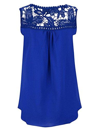 Yidarton Top Blouse Femme Sans Manches Ete Casual Mousseline Top Dentelle Crochet Bleu