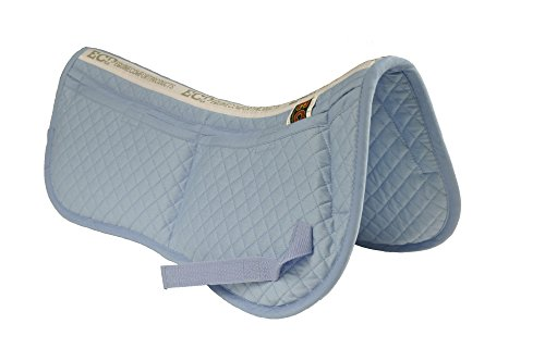 ECP alle Zweck Diamond Quilted Baumwolle Englisch Hälfte Sattel Pad Therapeutische vorgeformt Korrektur Memory Foam Taschen für Dressur, Springen, Reiten, Training, Zweispänner, zeigt, hellblau -