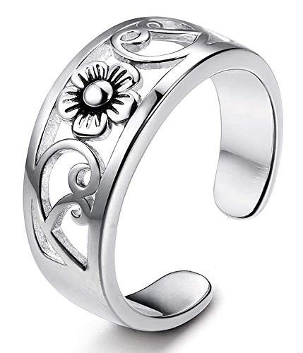 g Silber Blume Zehenring Für Frauen und Mädchen Einstellbare Größe ()