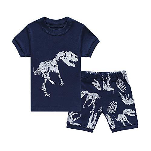 HIKIDS Jungen Schlafanzug Dinosaurier Kurz Zweiteiliger Schlafanzug Kinder Sommer Bekleidung Nachtwäsche Dino Short Pyjama Set 134 (Jungen-sommer-nachtwäsche)