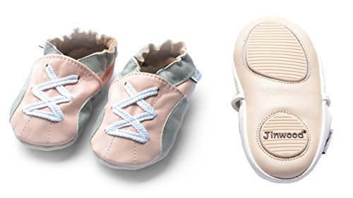 Jinwood designed by amsomo - Jungen - Maedchen - Hausschuhe - ECHT LEDER - Lederpuschen - Krabbelschuhe - soft sole / mini shoes div. Groeßen sport pink mini shoes