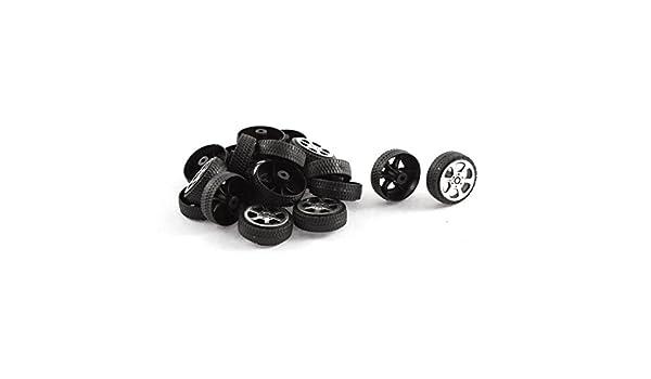 sourcingmap Plastic Roll 2mm Dia Shaft Car Truck Model Toys Wheel 20mmx6mm 20Pcs