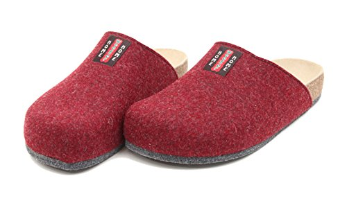 Bio Filz Pantoffel TWEED mit Fußbett & ABS-Filzsohle Gr. 36 - 47 Bordo