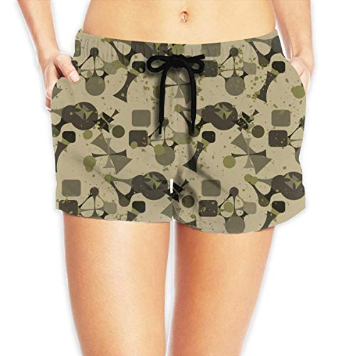 ZKHTO Women's Beach Board Shorts Camouflage Camo Bowling Swim Trunks Briefs Swimsuit,Size:XL