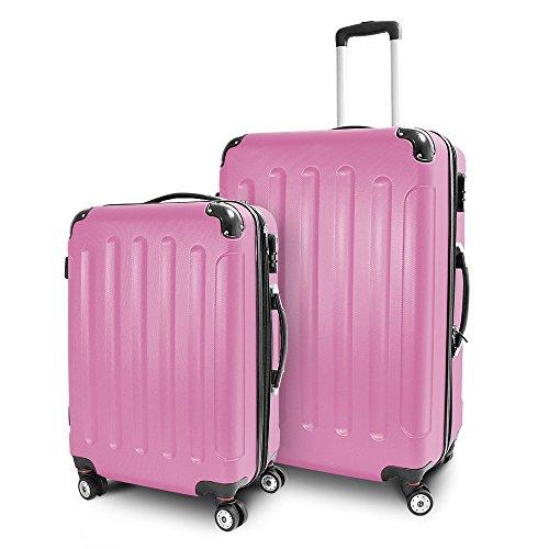 BERWIN® Kofferset L + XL 2-teilig Reisekoffer Trolley Hartschalenkoffer ABS Teleskopgriff Modell Stripes (Rosa)