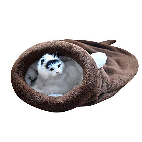 BLEVET Warm Waschbare Kätzchen Bett Winddicht Sack Kuschelig Tasche Decken Matte Haustier Schlafsäcke für Katze und Hund MZ042 (M, Coffee)