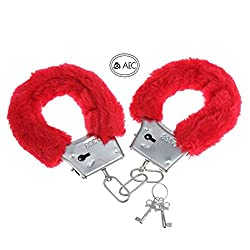 AEC Soft Steel Fuzzy Furry Cuffs Working Metal Handcuffs For Theme Party Supplies & Role Play (Red)