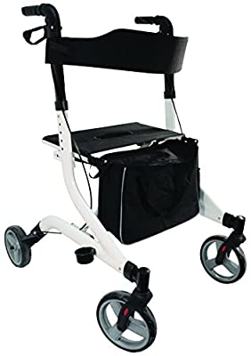 Aidapt Ultra Lightweight Aluminium Four Wheeled Rollator with Integral Seat, Walking Stick Holder and Detachable Shopping Bag. Ultra Modern Sleek Design that Folds Flat when not in use.Ideal for Travel Use. Available in a Range of Stylish Colours. Ergonom