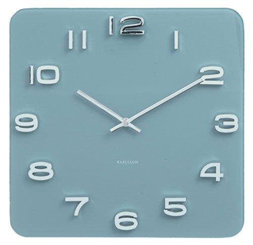 Karlsson - Wanduhr, Uhr - Vintage - Farbe: Jeans Blau - Square - 35 x 35 cm - Glas
