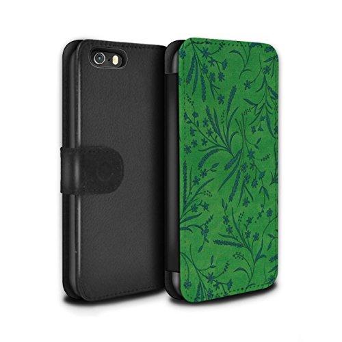 Stuff4 Coque/Etui/Housse Cuir PU Case/Cover pour Apple iPhone SE / Pack (8 pcs) Design / Motif floral blé Collection Vert/Bleu