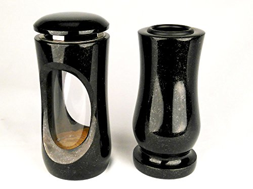 designgrab Design small Grablampe mit Vase aus Granit Schwedisch Black SS1 schwarz, Grabschmuckset