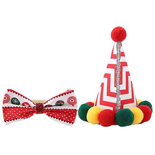 e Schoßhunde Katzen Weihnachten Fliege Dekoration Cap Schal Set Geburtstag Party Hut (Krawatte) ()