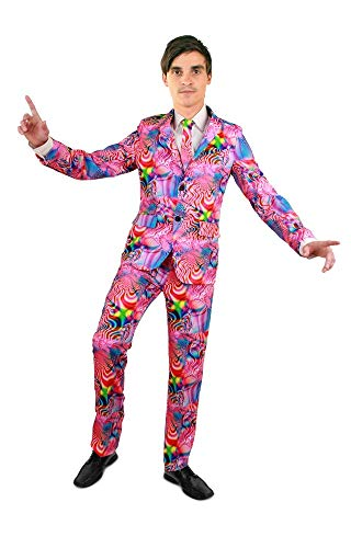 c Disco Party Herren Anzug mit Krawatte Sakko Jackett Hose Karneval JGA, Größe:54 ()
