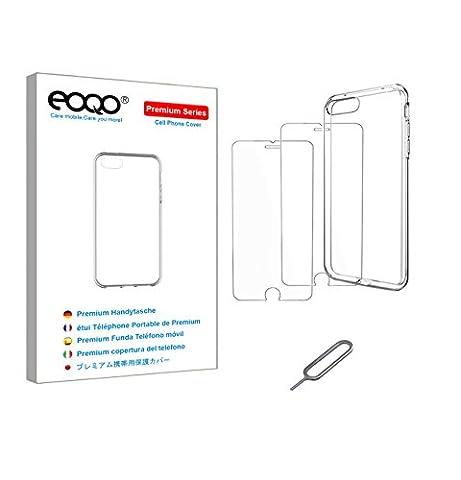 eoqo® iphone 7 plus TPU Etui Clair En Silicone TPU + iphone 7 plus Protecteur D'ÉCran En Verre TrempÉ + Broche D'éjection