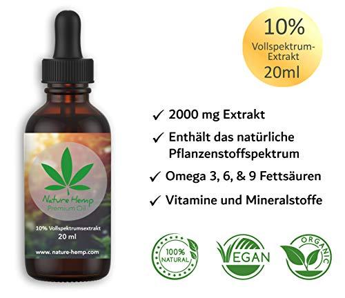 Nature Hemp 10{1f54e633a2b476e9a8069fca919f072ee3d1a62c4f58c0fbda8aa78ef551b05c} (20ml) Vollspektrum Öl | Premium Essenz mit CB-1 & CB-2 Aktivator | natürliche Phytocannabinoide | Hanföl Tropfen