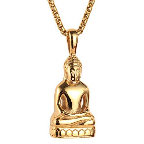 HIJONES Herren Edelstahl Gold/Silber Vintage Amitabha Buddha Statue Anhänger Halskette Gold