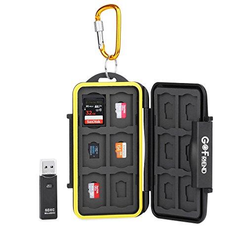 Galleria fotografica Valigetta professionale porta memory card Gofriend®, impermeabile, Compact Flash Travel Protector Storage Case per SD SDHC SDXC con moschettone e lettore di schede
