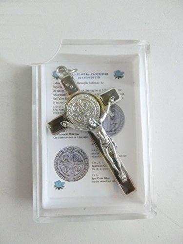 GTBITALY 10.005.11braun Kreuz des Heiligen Benedikt wirtschaftliche mit Behälter und Gebet in Italienisch