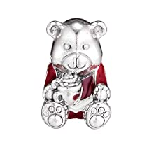 PANDOCCI 2018 Christmas Gift Bear Red & White Enamel Bead 925 Silver DIY Fits for Original Pandora Bracelets Charm Fashion Jewelry