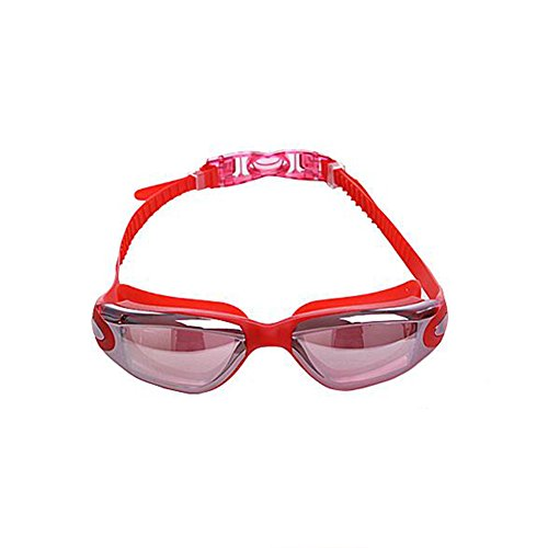 Honey Schwimmbrille Unisex Adult Non-Fogging Anti-UV-Männer Und Frauen Plating Water Sports Flat Light Goggles Taucherbrille (Farbe : Rot)
