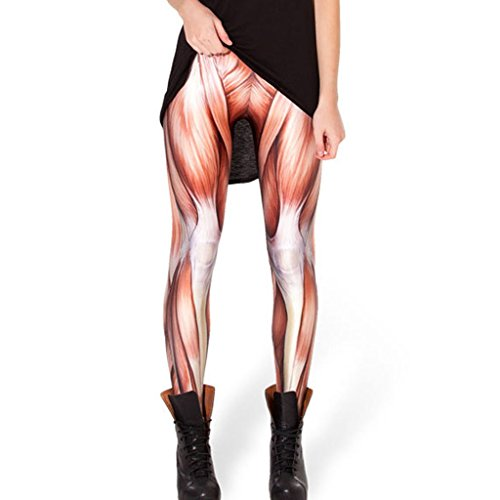 Jiayiqi Frauen Individualität Muscle Tissue Eignung Bodybuilding Hose - Halloween Leggings