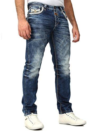 Cipo Baxx Homme Jeans Brodé Coutures décoratives Bleu