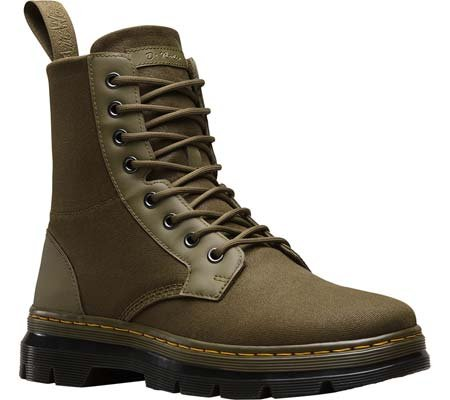 Dr.Martens Womens Combs 8 Eyelet Waxy Canvas Boots Braun