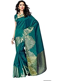 [Sponsored]Mimosa Women's Tassar Silk Saree With Blouse Piece (2070-Grn,Green,Free Size)