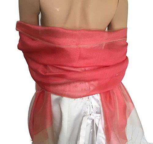 LadyMYP 200 65 cm luxe Double étole écharpe en Soie & Fil ou soie & Coton plus Couleurs melon rouge