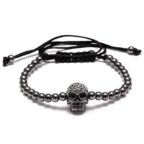 Imagen de pulseras rinhoo cuentas hechas a mano cabeza de calavera trenzado macrame charm wrap cord pulsera con cuentas brazaletes cuerda ajustable joyas para hombres mujeres negro