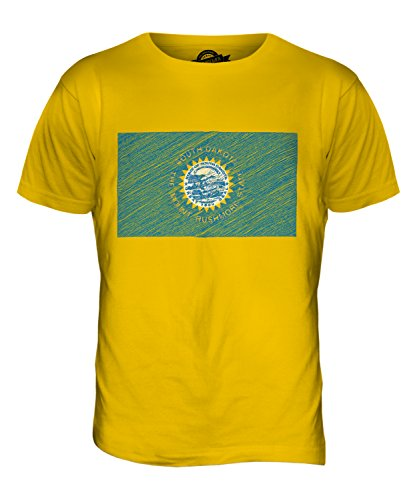 CandyMix Bundesstaat South Dakota Kritzelte Flagge Herren T Shirt Dunkelgelb