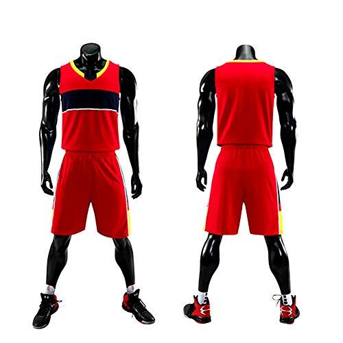 Basketball Jersey Basketballtrikotanzug, Herren- und Damenjugend, Schnell Trocknende, Sportbekleidung,Rot,L