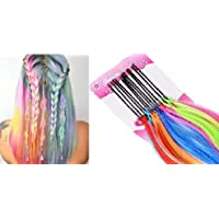 AASA Hair Extension Pins for Girls and Women, Synthetic Colorful Hair Streaks Pins for Girls, Multicolor, Set of 12Pcs, 10 Grams, Pack of 1 (Highlighter Pins)