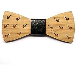 BOBIJOO Jewelry - Pajarita Madera bambú Hombre de Tabaco de Pipa Mano Señor Hecho Cuero