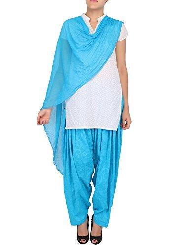 Womens Cottage Women's Turquoise Cotton Jacquard Semi Patiala Salwar & Chiffon Dupatta Stole Set with Lace
