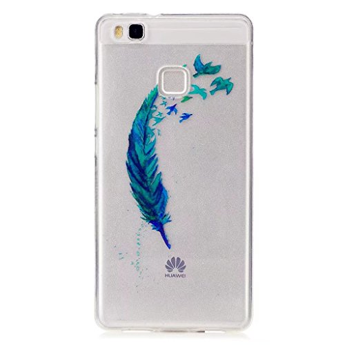 Coque pour Huawei P9 Lite MUTOUREN Mince Léger Souple en TPU Clair Transparente Ultra Mince Premium Semi- transparent Crystal Clear Housse Etui Coque Pour Huawei P9 Lite-plumes vertes