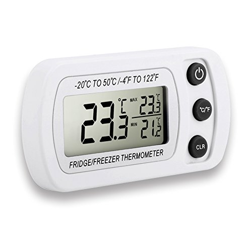 Kühlschrankthermometer, Dreamiracle Digital Thermometer für Kühlschrank Gefrierschrank Gefrier Maximum Minimum Funk Thermometer mit Haken (Weiß)