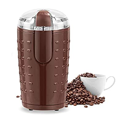 COSTWAY Upgraded Electric Coffee Grinder - One-Touch Operation, with 2 Cutting Stainless Steel Blades and Transparent Lid, for Beans, Spices and Nuts - Powerful 150W Oval Coffee Machine, 70g Capacity from COSTWAY