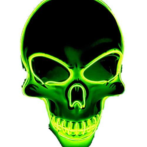 Maskottchen Känguru Kostüm - Calvinbi Halloween Maske LED Light EL Wire Schädel Maske Skelett Maske Cosplay Maske Purge Mask für Festival Fasching Cosplay Halloween Karneval Kostüm Dekoration Leuchtend