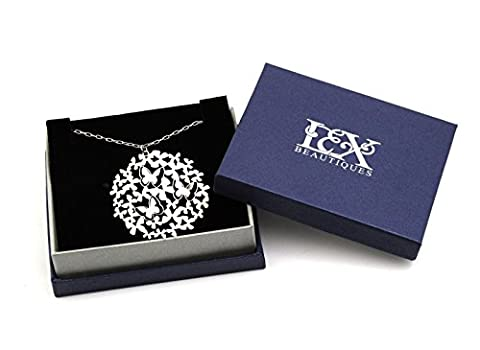 Laser Cut 3D Butterfly Necklace Silver With Gift Box